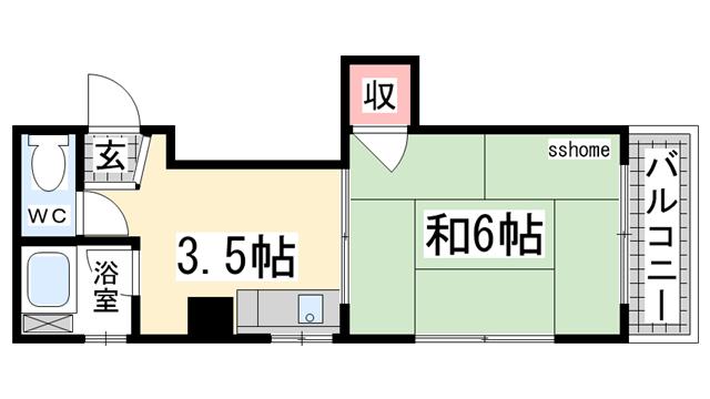 物件番号: 1123100012 シャトー上野  神戸市灘区上野通4丁目 1K マンション 間取り図