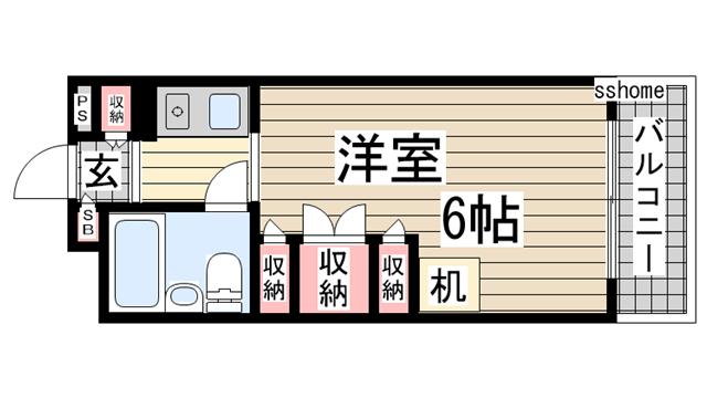 物件番号: 1123100547 プラス六甲  神戸市灘区高羽町2丁目 1K マンション 間取り図
