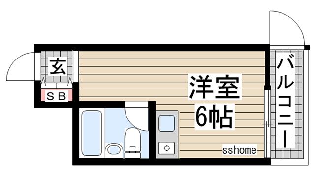 物件番号: 1123100577 ビラプリムベーレ  神戸市灘区中原通5丁目 1R ハイツ 間取り図
