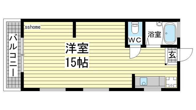 物件番号: 1123101011 梅木マンション  神戸市中央区坂口通3丁目 1R マンション 間取り図