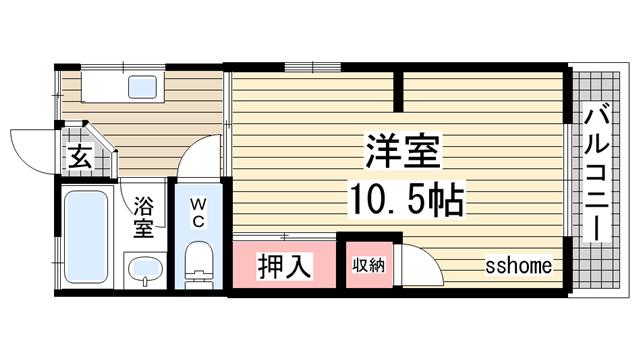 物件番号: 1123101029 ベルエアー六甲  神戸市灘区高徳町3丁目 1DK マンション 間取り図