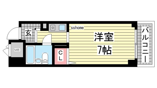 物件番号: 1123101205 ヴェルドール王子公園  神戸市灘区福住通5丁目 1K マンション 間取り図