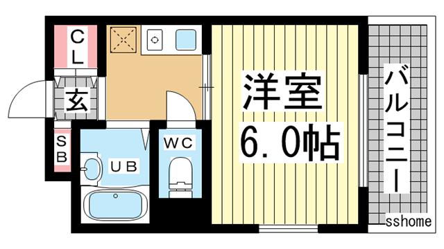 物件番号: 1123101329 フラワービル  神戸市灘区琵琶町3丁目 1K マンション 間取り図