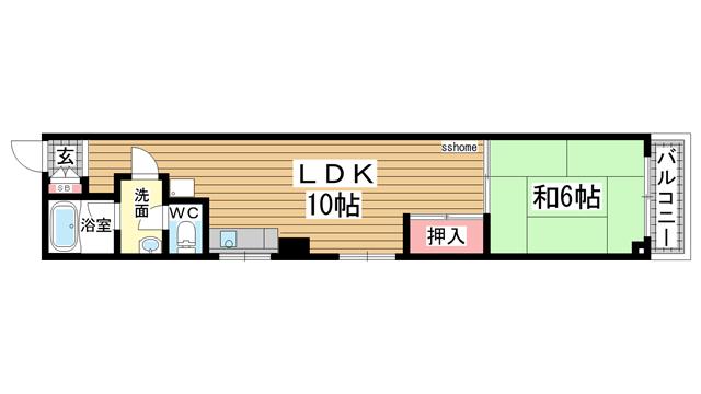 物件番号: 1123101354 オズハウス  神戸市灘区水道筋5丁目 1LDK マンション 間取り図