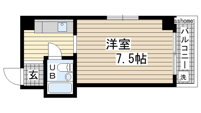 物件番号: 1123101419 ヒューゲルハイツ  神戸市灘区上河原通4丁目 1R マンション 間取り図