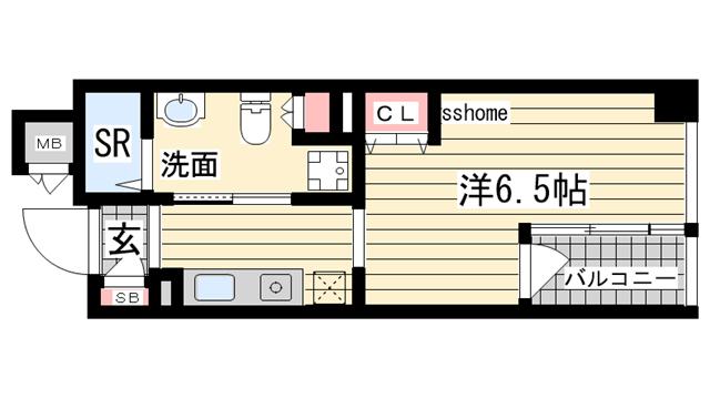 物件番号: 1123101426 エス・キュート御影  神戸市東灘区御影本町6丁目 1K マンション 間取り図