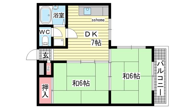 物件番号: 1123101680 シャルム桜ヶ丘  神戸市灘区桜ヶ丘町 2DK マンション 間取り図