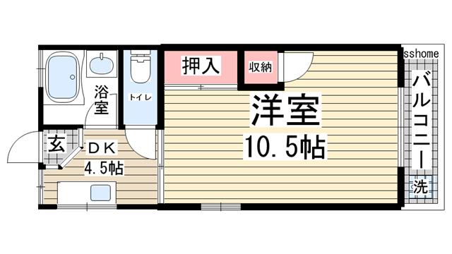 物件番号: 1123101783 ベルエアー六甲  神戸市灘区高徳町3丁目 1DK マンション 間取り図