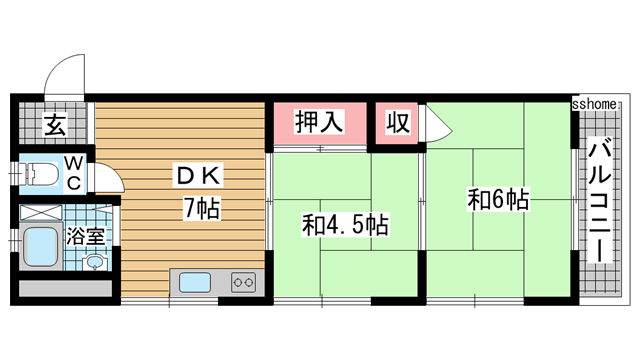 物件番号: 1123101878 豊田マンション  神戸市東灘区住吉本町2丁目 2DK マンション 間取り図