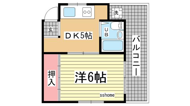 物件番号: 1123102269 フレンドマンション  神戸市灘区永手町1丁目 1DK マンション 間取り図