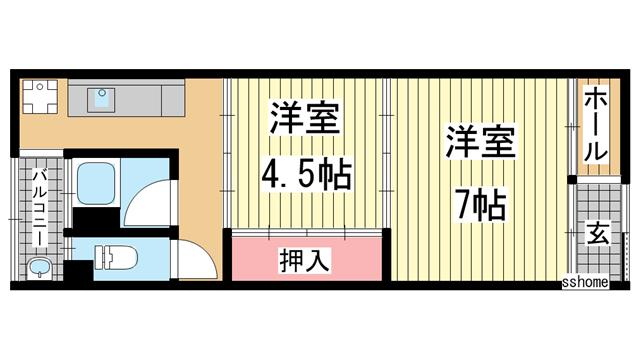 物件番号: 1123102613 高匠マンション  神戸市灘区高徳町3丁目 2DK マンション 間取り図