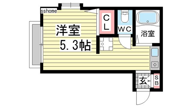物件番号: 1123102750 ハイツリブ  神戸市灘区下河原通2丁目 1K ハイツ 間取り図