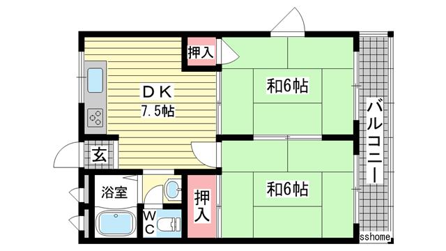 物件番号: 1123102879 森南コーポ  神戸市東灘区森南町2丁目 2DK マンション 間取り図