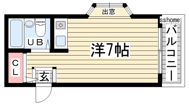 物件番号: 1123102980 Bau haus  神戸市灘区泉通2丁目 1R マンション 間取り図