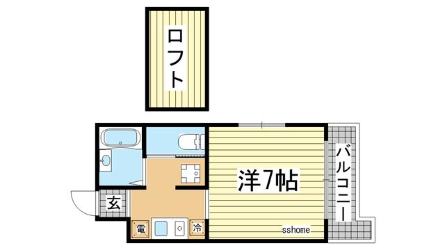 物件番号: 1123103050 ジュヌパッション  神戸市灘区新在家南町4丁目 1K マンション 間取り図