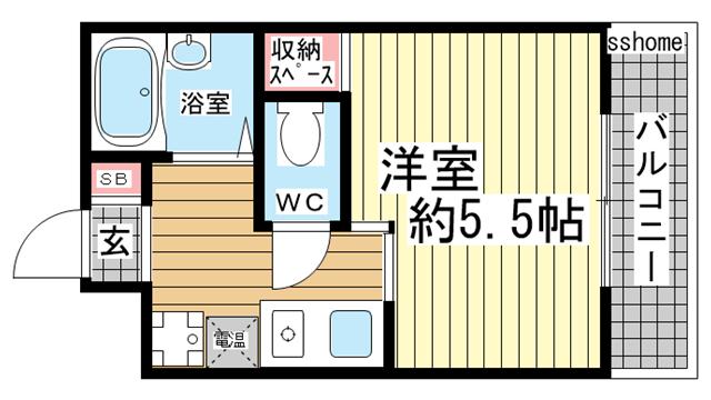 物件番号: 1123103053 ロイヤルイン六甲  神戸市灘区将軍通2丁目 1R マンション 間取り図