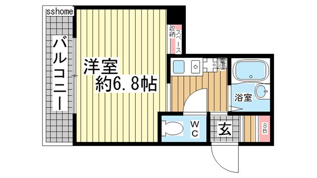 物件番号: 1123103054 ロイヤルイン六甲  神戸市灘区将軍通2丁目 1R マンション 間取り図