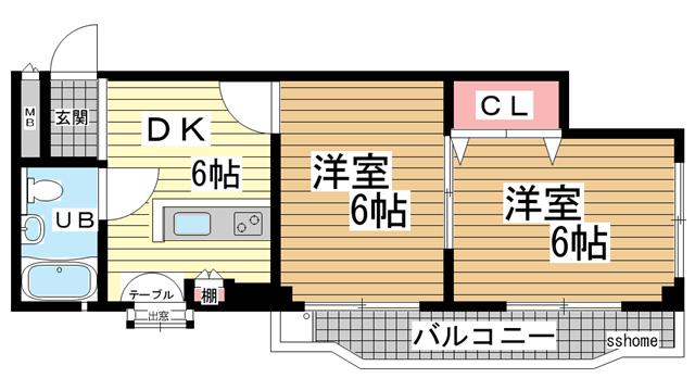 物件番号: 1123103072 御影ハイム  神戸市東灘区住吉南町5丁目 2DK マンション 間取り図