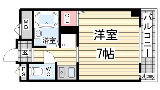 物件番号: 1123103278 エンゼル・サン  神戸市灘区城内通4丁目 1R マンション 間取り図