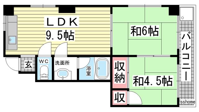 物件番号: 1123103346 パールハイツ御影  神戸市東灘区御影塚町2丁目 2DK ハイツ 間取り図