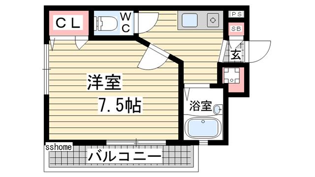 物件番号: 1123103384 マンション王子  神戸市灘区原田通1丁目 1K マンション 間取り図