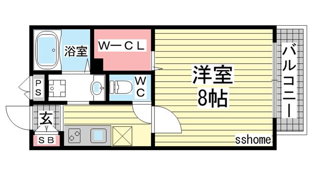 物件番号: 1123103387 ディマンシュ  神戸市灘区五毛通2丁目 1K アパート 間取り図