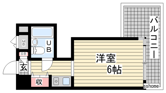 物件番号: 1123103458 ラ・セーヌ六甲  神戸市灘区篠原南町2丁目 1K マンション 間取り図