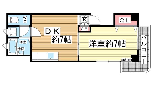 物件番号: 1123103496 オアシス岡本  神戸市東灘区岡本7丁目 1DK マンション 間取り図