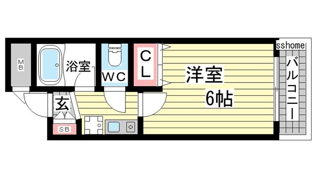 物件番号: 1123103509 エクセレント坂田  神戸市灘区都通5丁目 1K マンション 間取り図