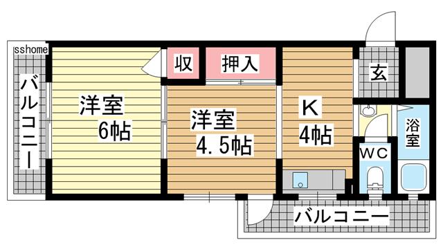 物件番号: 1123103521 グレースシャトー  神戸市灘区神前町1丁目 2K マンション 間取り図