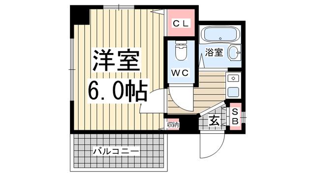 物件番号: 1123103585 シャトープランスⅠ  神戸市灘区原田通1丁目 1K マンション 間取り図