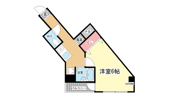 物件番号: 1123103621 ヒュース王子公園  神戸市灘区城内通5丁目 1K マンション 間取り図