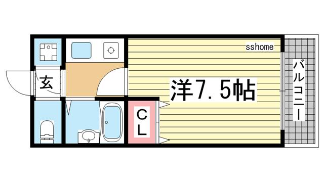 物件番号: 1123103701 ジュネス六甲  神戸市灘区弓木町2丁目 1K マンション 間取り図