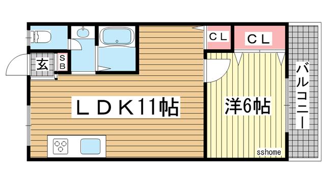 物件番号: 1123103744 アーバン六甲  神戸市灘区一王山町 1LDK マンション 間取り図
