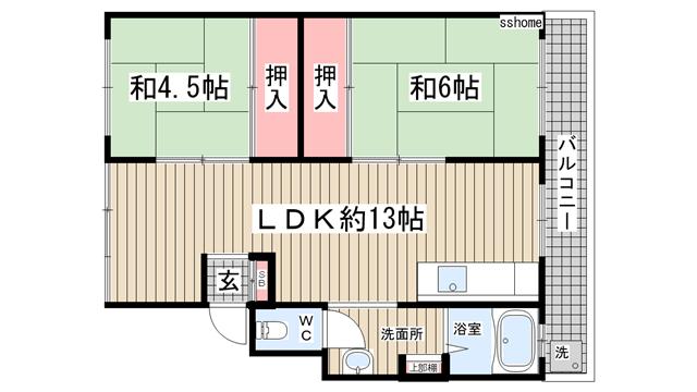 物件番号: 1123103801 ヴィラ六甲  神戸市灘区篠原南町1丁目 2LDK マンション 間取り図