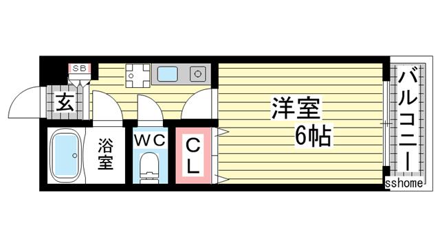 物件番号: 1123103852 ハイツモカ  神戸市灘区泉通2丁目 1K マンション 間取り図