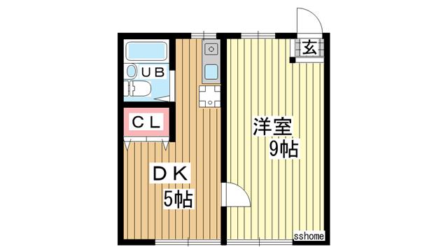 物件番号: 1123103853 土居アパート  神戸市灘区一王山町 1DK アパート 間取り図
