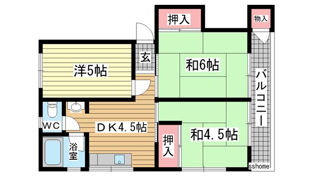 物件番号: 1123103855 シャトレー六甲  神戸市灘区篠原南町1丁目 3DK マンション 間取り図