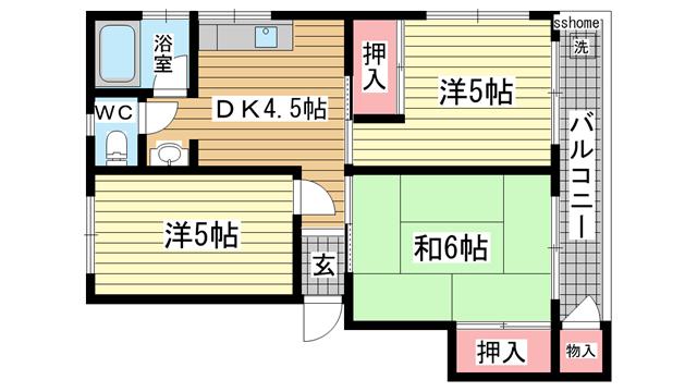 物件番号: 1123103856 シャトレー六甲  神戸市灘区篠原南町1丁目 3DK マンション 間取り図