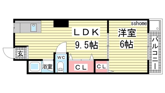 物件番号: 1123103911 六甲マンション  神戸市灘区篠原北町4丁目 1LDK マンション 間取り図
