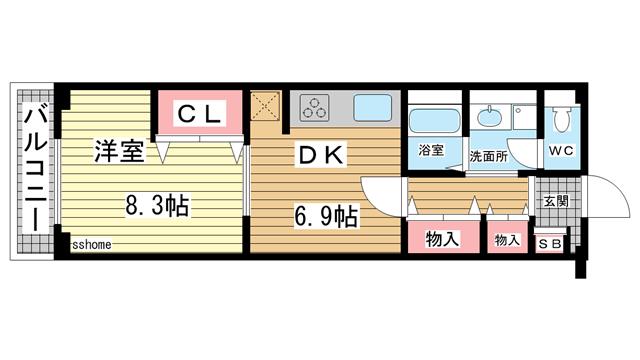 物件番号: 1123104061 アクア灘  神戸市灘区新在家南町3丁目 1DK マンション 間取り図