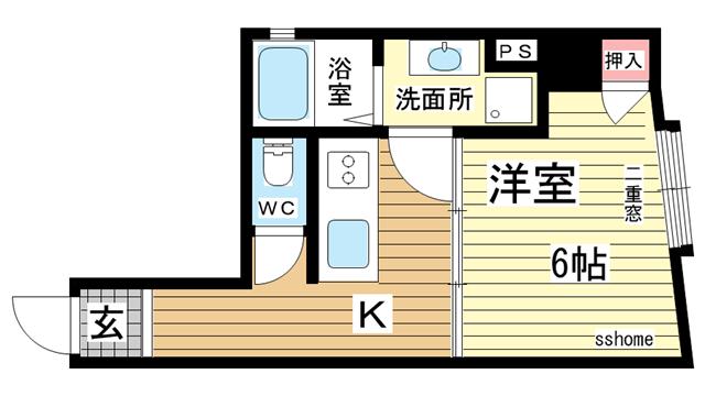 物件番号: 1123104111 品川マンション  神戸市中央区相生町4丁目 1K マンション 間取り図