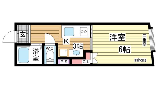物件番号: 1123104114 品川マンション  神戸市中央区相生町4丁目 1K マンション 間取り図
