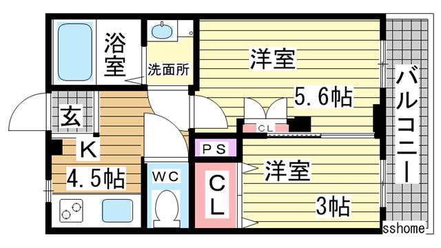 物件番号: 1123104115 品川マンション  神戸市中央区相生町4丁目 2DK マンション 間取り図
