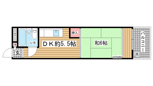 物件番号: 1123104122 大和テラス  神戸市灘区六甲台町 1DK ハイツ 間取り図