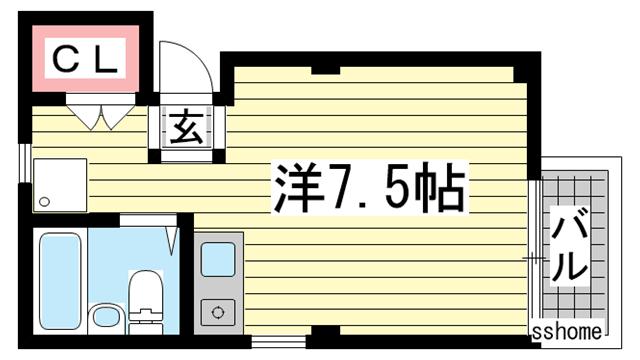 物件番号: 1123104125 プチハウス大開  神戸市兵庫区大開通7丁目 1R マンション 間取り図