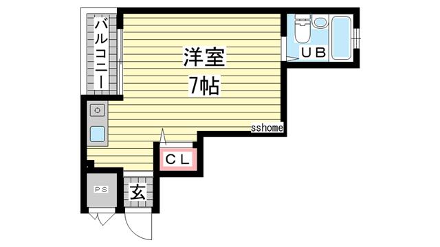 物件番号: 1123104127 ポート東出  神戸市兵庫区東出町3丁目 1R マンション 間取り図