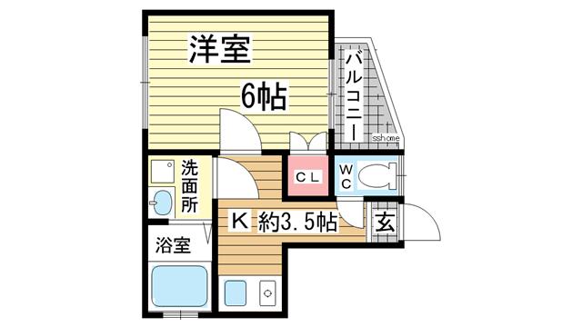 物件番号: 1123104128 荒田ハウス  神戸市兵庫区荒田町3丁目 1DK アパート 間取り図