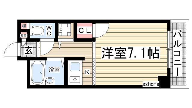 物件番号: 1123104155 西灘駅前ハイツ  神戸市灘区都通5丁目 1K マンション 間取り図