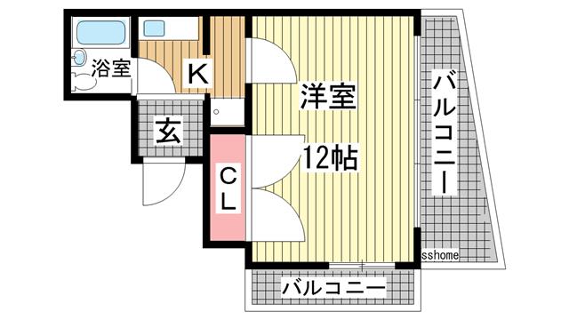 物件番号: 1123104156 六甲グランドライオンズⅡ  神戸市灘区琵琶町1丁目 1K マンション 間取り図
